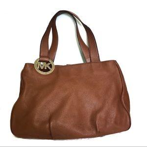 Michael Kors Large Brown Pebbled Leather Fulton